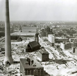 The medieval Marienkirche in the late 1960s surrounded by buildings sites