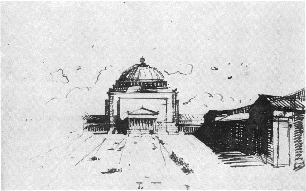 Adolf Hitler's sketch for the Great Hall, as part of the Germania project