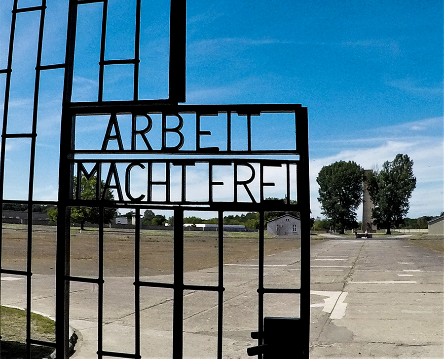 The infamous camp lettering 'Arbeit Macht Frei' (Work Sets One Free)
