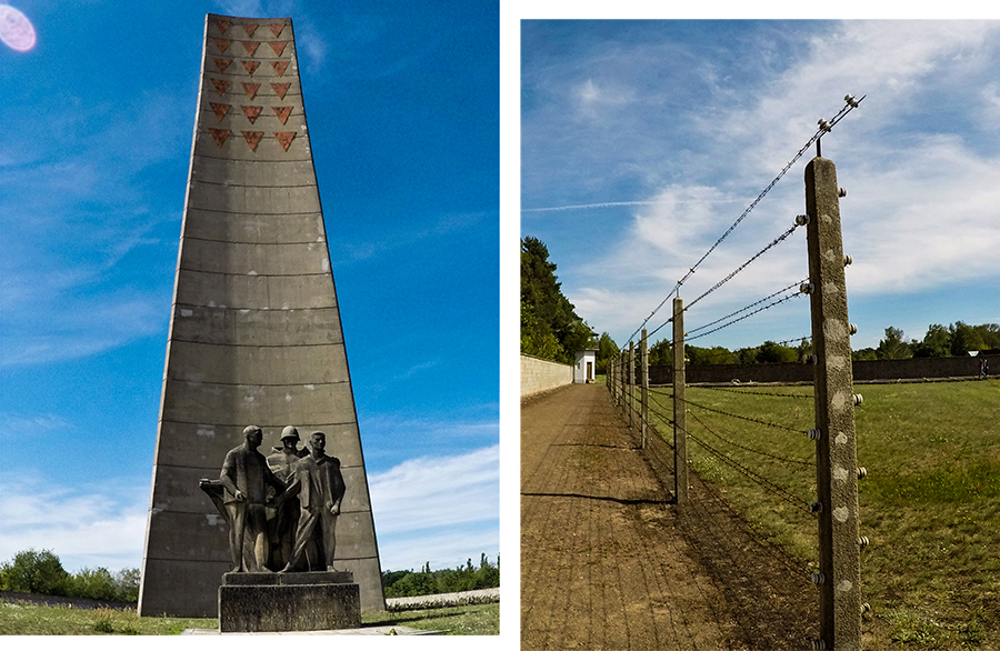 The Camp Obelisk, added by the East German government, and the perimeter fence