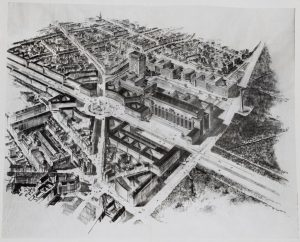 Sketch of Germania with the proposed Soldiers Hall (centre)