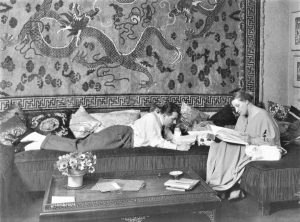 Lang and Harbou in their Berlin apartment in 1923 or 1924, about the time they were working on the scenario for Metropolis